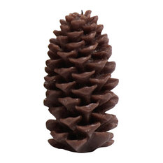 Small Candle, Pine Cone Shaped, Brown (Set of 4)