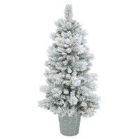 """Flocked Ashton Christmas Tree, Dura-Lit 150 LED, Warm White, 5'x30"""""""