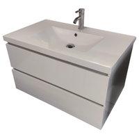 "36"" Wall Mount Modern Bathroom Vanity White"