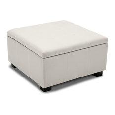 Upholstered Squared Storage Ottoman White