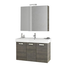 "40"" Gray Oak Bathroom Vanity Set"