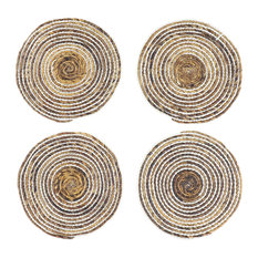 Striped White and Natural Banana Leaf Wicker Round Placemats, Set of 4