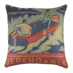 "Lake Life Burlap Pillow, ""Dependable"""