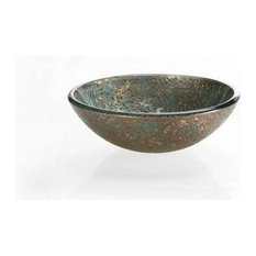 Reflex Vessel Sink, Blue And Copper Storm