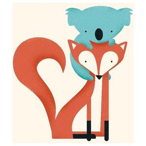 Fox & Koala Framed Fine Art Print, 48x65 cm