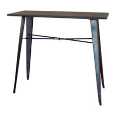 Amerihome   Loft Rustic Gunmetal Metal Counter Height Dining Table With  Wood Top   Dining Tables