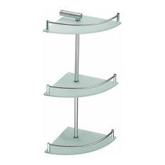 3 Tier Corner Temper Glass Shelves Stainless Steel