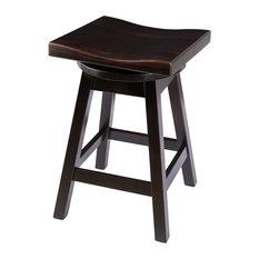 "Rustic Swivel Saddle Stool, Maple Wood, Onyx, Bar Height, 30"""