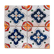 "Hand Painted 6""x6"" Patterned Moroccan Tile"