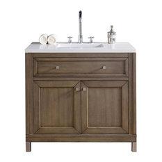 """36"""" Single Sink Vanity, White Washed Walnut Finish"""