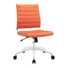 America Luxury   Modern Contemporary Office Chair, Orange Faux Leather   Office  Chairs