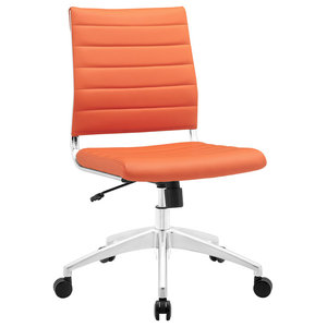 Modern Contemporary Office Chair, Orange Faux Leather