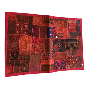 Mogul iNterior - Red Banjara Wall Decor Ethnic Throw Tapestry Kutch embroidered tapestry - Tapestries
