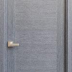 """Ville Doors - Milano Black Apricot Modern Interior Door, 27 3/4"""" X 78 3/4"""", Right Hand - Interior door in exotic wood veneer finish."""