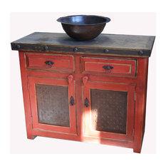 "Rustic Red Bathroom Vanity Metal Panel Doors, 48""x20""x32"","