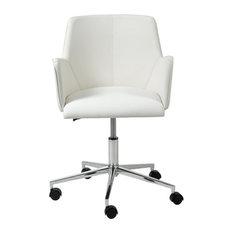 Euro Style   Contemporary White Office Chair With Unique Arms And Chrome  Base   Office Chairs