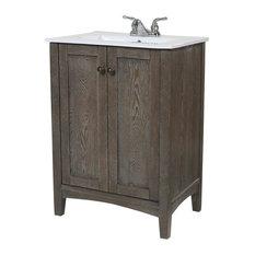 Elegant Rustic Weather Oak Bathroom Vanity