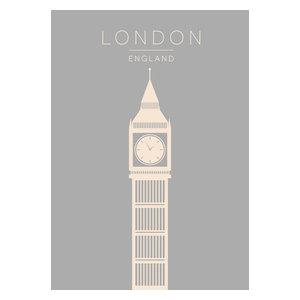Minimalist London Big Ben Poster in Blue Grey, A4
