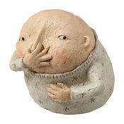 Boy Holding Nose Sculpture - Primitive Kitschy Figurine Bathroom Decor
