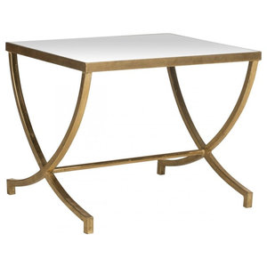 ca30192f5f86 Astre Antique Gold Leaf Star Shaped Mirrored Side End Table ...