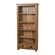 Cotswold Solid Oak Bookcase, Rustic, Large