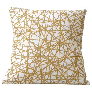 Gold Scribble Cushion, 40x40 cm