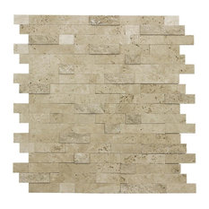 MTO0217 Peel and Stick Classic Linear Beige Glazed Stone Mosaic Tile