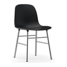 Form Chair, 4-Leg Base, Black, Chrome