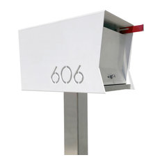 Modern Contemporary Retro Design , the RetroBox Locking Pole mounted Mailbox, Wh