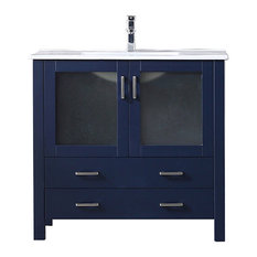 36-inch Navy Blue Single Vanity Integrated Top Integrated Square Sink No Mirror