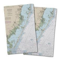 Long Beach Island, Nj Nautical Chart Hand Towel, Set of 2