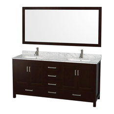 Double Bathroom Vanity, Countertop, Undermount Square Sinks, Mirror, Espresso