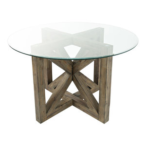 Fresno Collection Round Glass 54 Quot Dining Table Stone Wash
