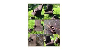 Réfection d'un fauteuil anglais en garniture traditionnelle