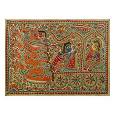 Krishna and Arjun Madhubani Painting