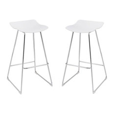 Pemberly Row Essex White 30'' Bar Stool With Chrome Base Set Of Two
