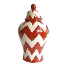 Small Tibor Ginger Jar, Orange, Chevron