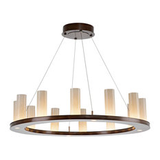 Corona Ring Chandelier, Gunmetal, Frosted Seeded Glass