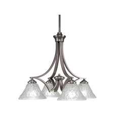 "Zilo 4 Light Chandelier, Graphite Finish With 7"" Italian Bubble Glass"