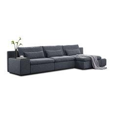 Divani Casa Paseo Modern Gray Fabric Sectional Sofa