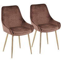 Diana Contemporary Chair, Satin Brass Metal and Chocolate Brown Velvet, Set of 2