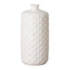 Jules Woven Vase, White, Round
