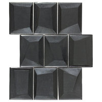 MTO0409 Modern Faceted Beveled Rectangle Black Metallic Glass Mosaic Tile