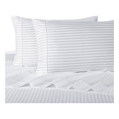 1200 Thread Count Egyptian Cotton Stripe Bed Sheet Set, Queen, White