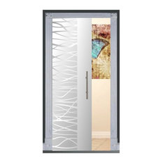 """Frameless Glass Pocket Sliding Door and Frosted Wave Lines, 32""""x80"""", Opaque, Lef"""