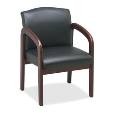 Lorell Deluxe Faux Guest Chair, Black Cherry, Leather Black Seat