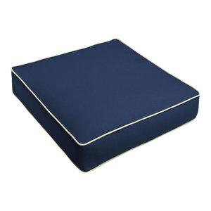 Sunbrella Navy Blue w/Ivory Outdoor Deep Se, 23.5x23