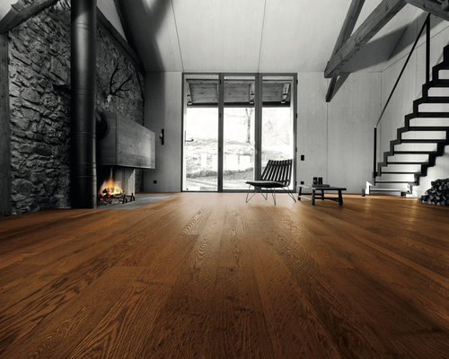 Parkettmanufaktur PLANK 1-STRIP ASH ARABICA MEZZO hand scraped with bevelled edg - Engineered Wood Flooring