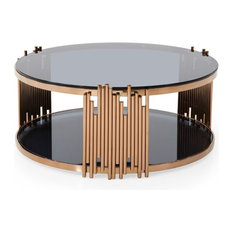 Modrest Bryce Modern Smoked Glass And Rosegold Round Coffee Table