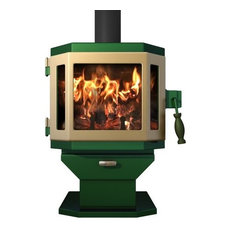 Catalyst Emerald Green Wood Stove with Adobe Tan Door
